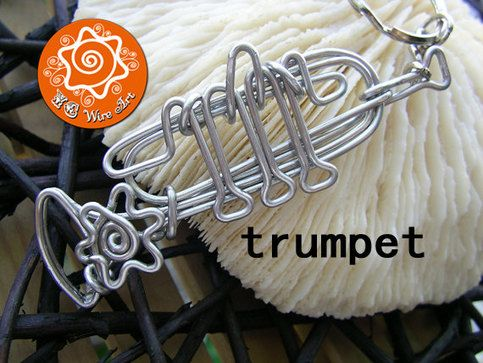 Trumpet, Tuba, Musical Instrument Wire Bending Ornament with Optional Custom Letters / Keychain / Pendant / Hanging Ornament    The musical instrument series was inspired by a friend of mine who loves playing piano. He really liked it and asked for other instruments for his club friends. Since th...