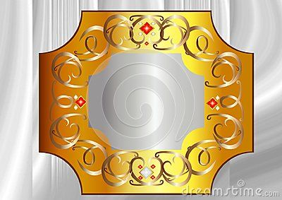 Vector illustration, Bronze and Yellow Gold frame with white and red crystals.