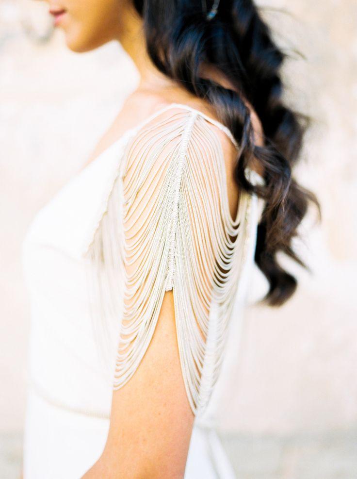 Draped chain wedding dress sleeve: http://www.stylemepretty.com/2016/02/23/trend-short-sleeve-wedding-dresses/