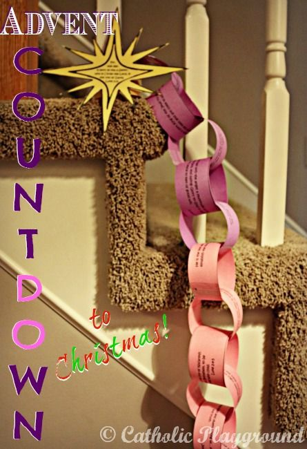 Have you started your countdown to Christmas yet??  Use this cute and super easy paper chain Advent calendar to keep track!  Click on the image above to find a free printable template at the Catholic Playground.
