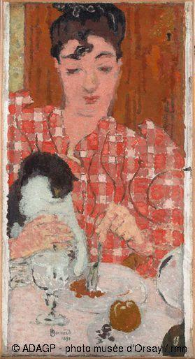 """Pierre Bonnard (Fontenay-aux-Roses, 1867 - Cannet, 1947) """"Le corsage à carreaux"""" 1892, Huile sur toile, H. 61 cm ; L. 33 cm. Musée d'Orsay, Paris, France © ADAGP - photo musée d'Orsay / rmn"""