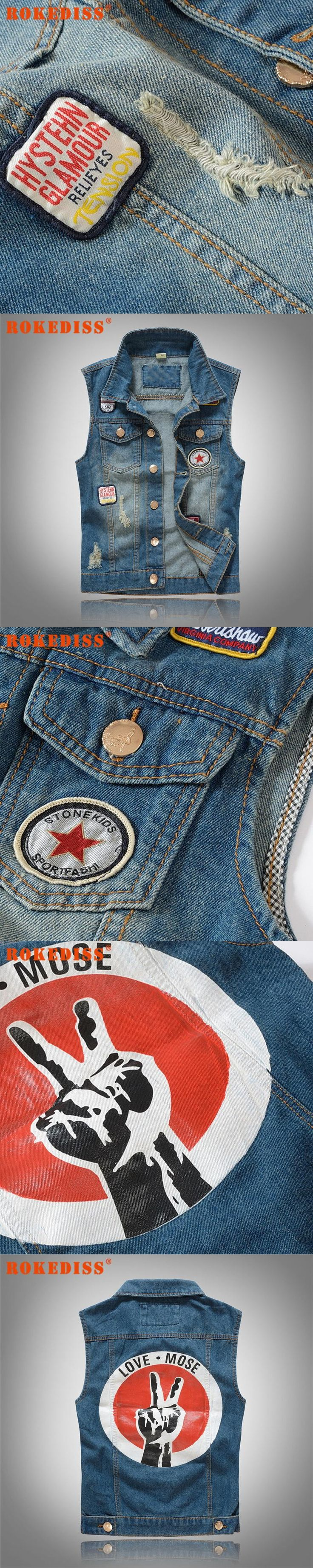 Cool Mens Denim Vest Embroider Letters Slim Fit Motorcycle Sleeveless Jean Jacket Waistcoat For Man Chaleco Vaquero M-2XL G288