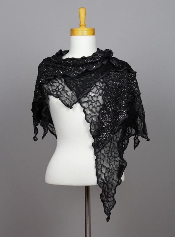 sans précédent détaillant en ligne qualité parfaite Châle noir châle fleurie écharpe fil argent dentelle fleurie ...