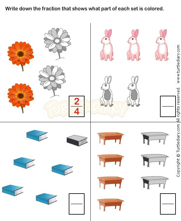 Fractions Worksheet 6 - math Worksheets - grade-1 Worksheets