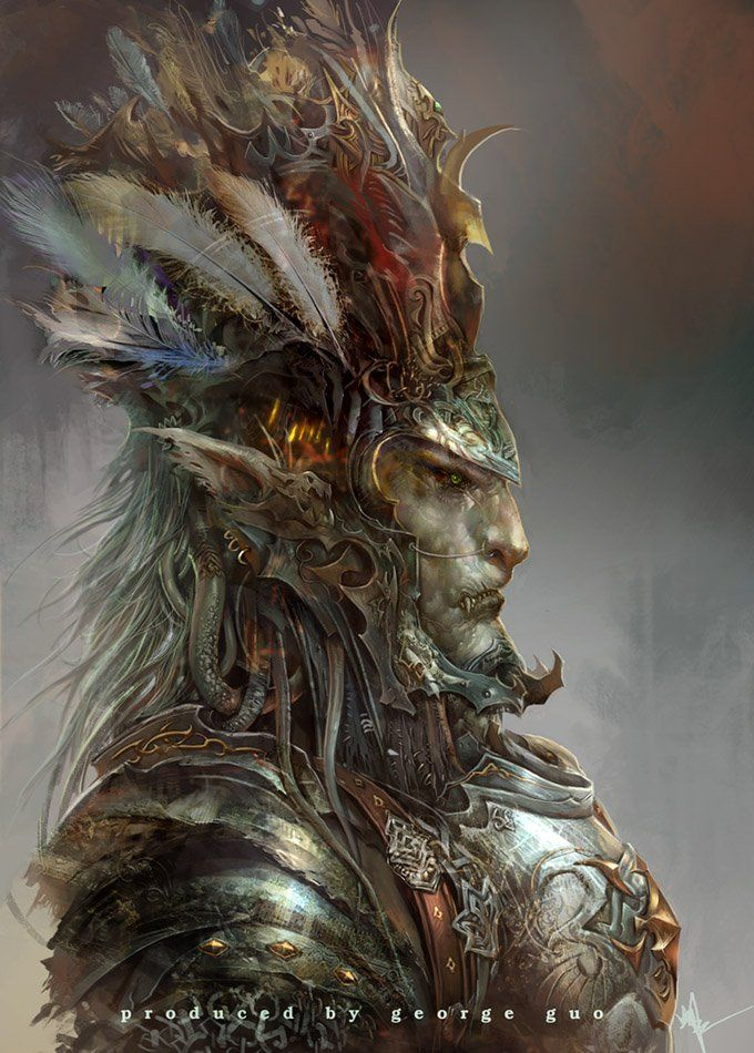 Feathery Orc like dude ~the textures are impressive, as well as the layers upon layers of detail: hair, feathers, dirt, etc. his stuff reminds me of kotaki's, in the rough/sketchy look.