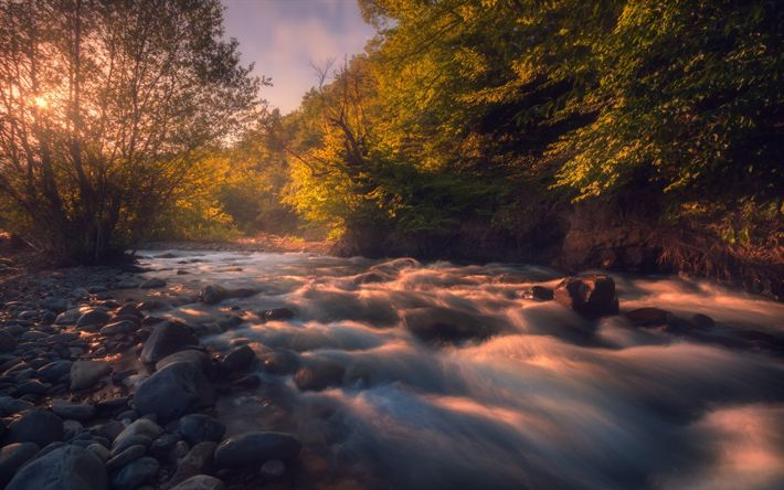 Download wallpapers mountain river, morning, sunrise, forest, water, river