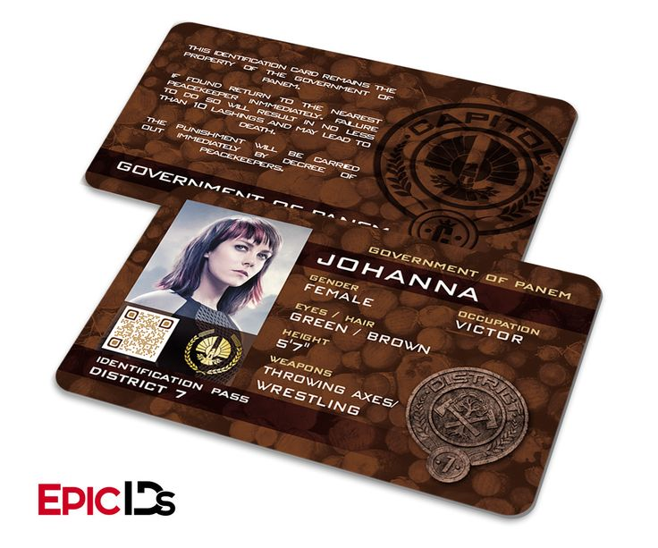 """The Hunger Games Inspired Panem District 7 """"Johanna"""" Identification Card"""