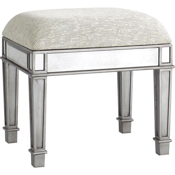 Pier 1 Imports Hayworth Vanity Bench - Silver ($140) ❤ liked on Polyvore featuring home, furniture, benches, ottomans, chairs, handcrafted furniture, pier 1 imports, pier 1 imports furniture, handmade furniture y hand made furniture