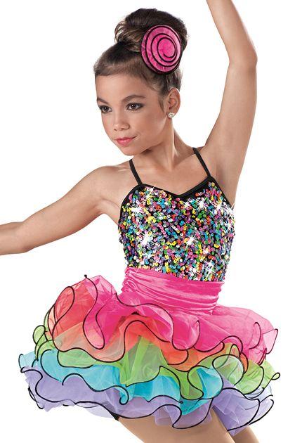 Weissman™   Colorful Tiered Skirt Biketard