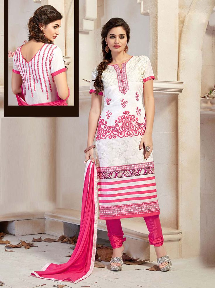 Off White Chanderi Silk Churidar Suit 63367