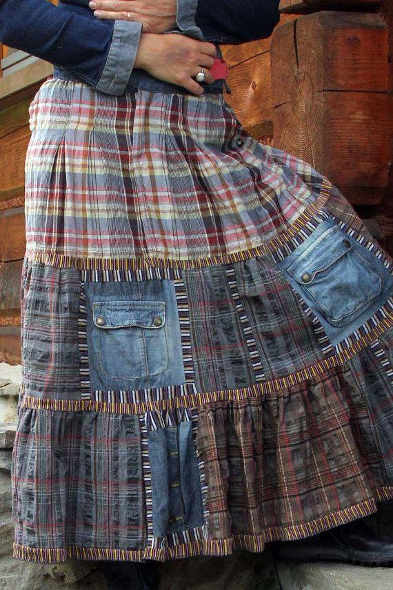 Patchwork de chemises avec poches jeans pour jupon bobofarm