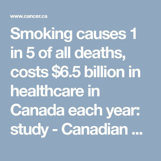 Smoking causes 1 in 5 of all deaths, costs $6.5 billion in healthcare in Canada each year: study - Canadian Cancer Society