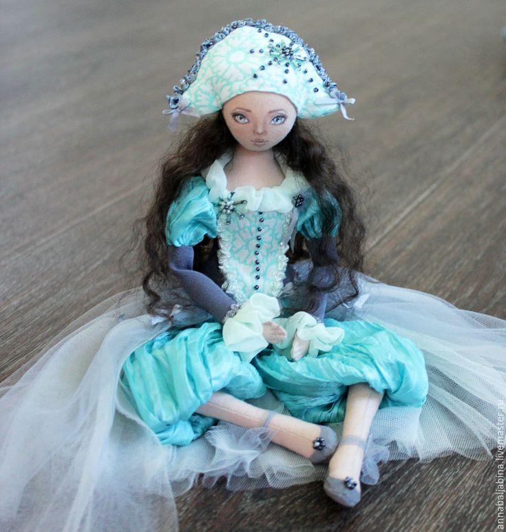 Купить Коломбина - подвижная коллекционная кукла - тёмно-бирюзовый, коломбина, дель арте, текстильная кукла