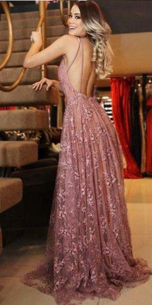 A-Linie V-Ausschnitt Rosa Spitze Abendkleider, Günstige Ballkleider, PDY0591 – prommode … – Anziehsachen