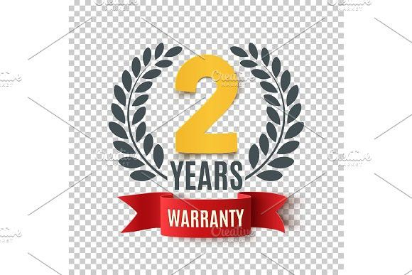 Two Years Warranty Background With Red Ribbon And Olive Branch