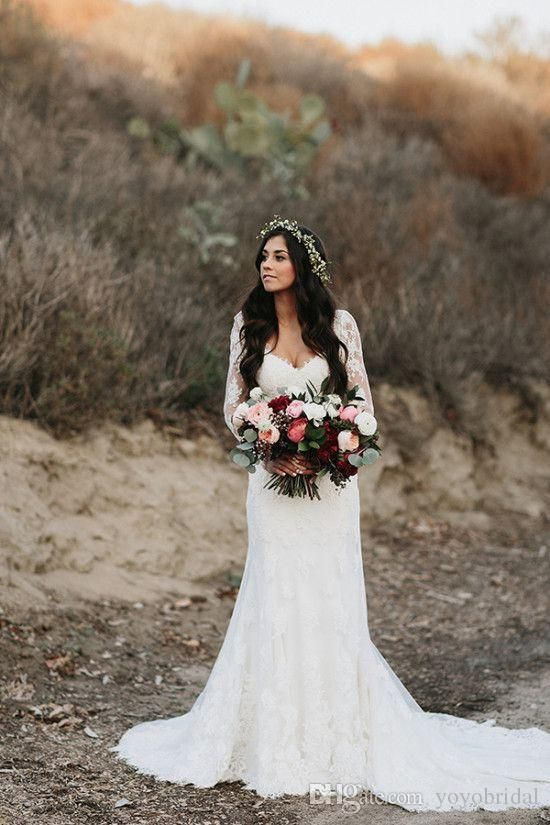 Modest Wedding Dress Country Style V Neck Illusion Long Sleeve Sheath Sequined Court Train Cheap Wedding…