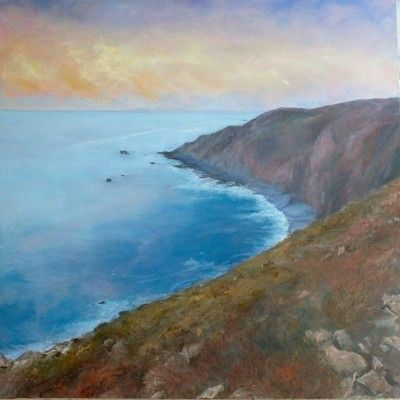 Sunset Coast 90cm x 90cm oil painting by Julie Dunster, pressing life's pause button.