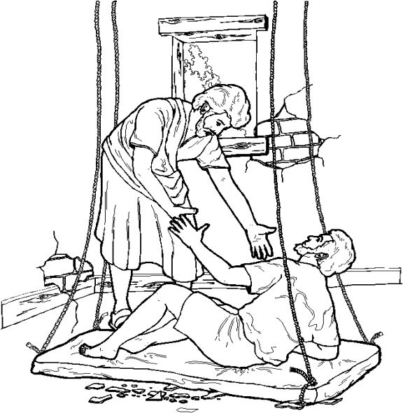 The paralytic drops down from the roof to be healed for Jesus heals paralytic coloring page