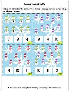 Les créations de Stéphanie: Préscolaire Cartes à pincettes : l'élève doit placer une épingle à linge au bon nombre