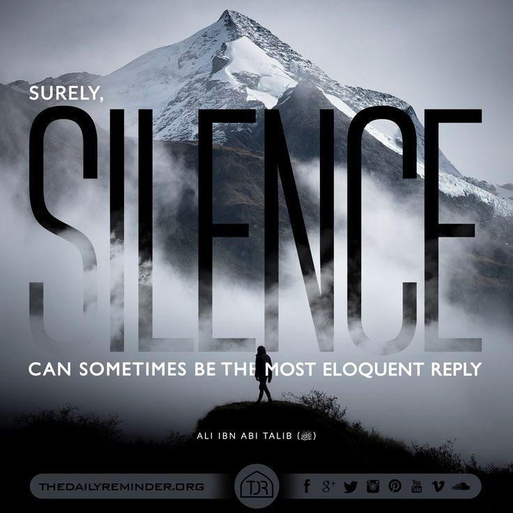 Surely, silence can sometimes be the most eloquent reply...  [Ali Ibn Abi Talib (may Allah be pleased with him)]
