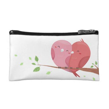 Couple Bird Small Cosmetic Bag - red gifts color style cyo diy personalize unique