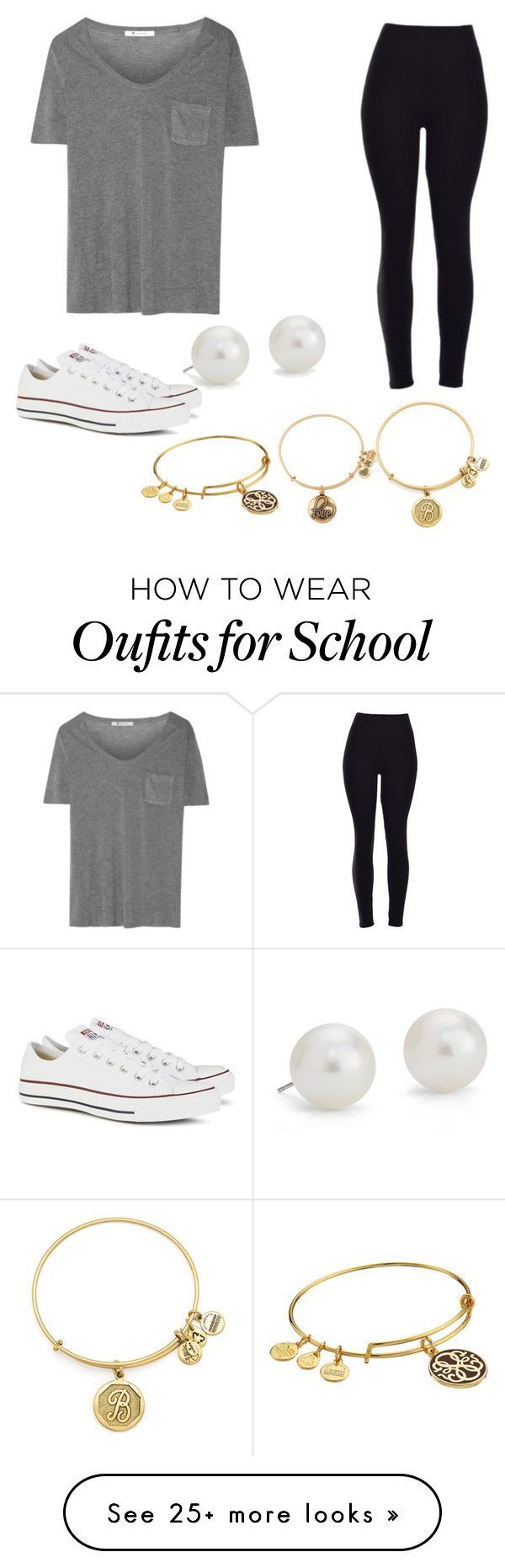 """""""Casual school day outfit!"""" by brooke-betke on Polyvore featuring T By Alexander Wang, Converse, Blue Nile, Alex and Ani, women's clothing, women, female, woman, misses and juniors"""