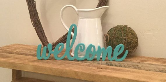 Welcome Wooden Wall Art Welcome Free Standing Wood word Great for Wreaths! ONLY $10!!
