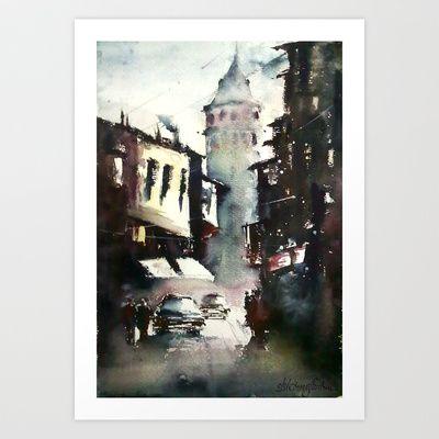 Galata Tower Art Print by Baris erdem - $15.00