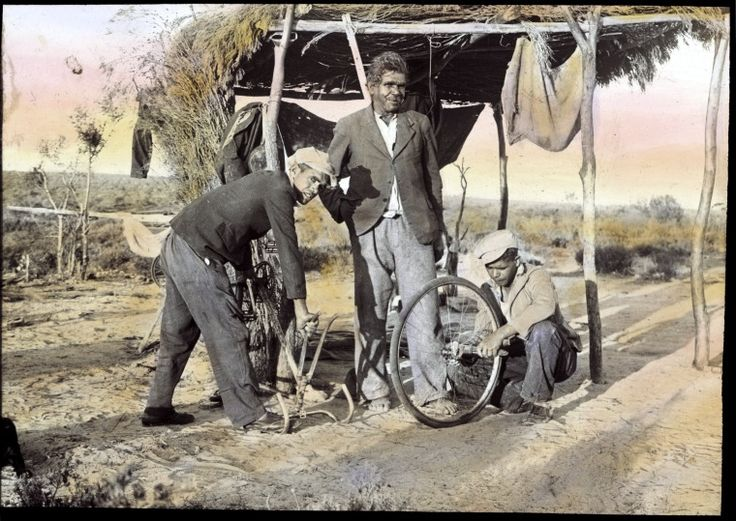 207262PD: Bicycle maintenance at Mount Margaret Mission, Warburton Range, or Brookton, 1930-1949 http://encore.slwa.wa.gov.au/iii/encore/record/C__Rb3799923?lang=eng