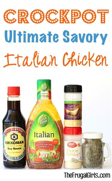 Do you smell that delicious aroma? This Savory Crock Pot Italian Chicken Recipe is sure to satisfy! Such a simple Crock Pot recipe with delicious results!