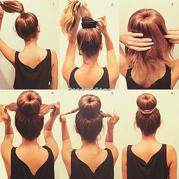 1.) Place your hair into a high ponytail 2.) Cut the end of a sock so that you can place out ponytail through it (the bigger the sock, the fuller your bun will be) 3.) Fan your hair out, making sure the sock is covered all around, then put a hair tie over it 4.) Take the remaining hair and split it in half 5.) Braid each side 6...
