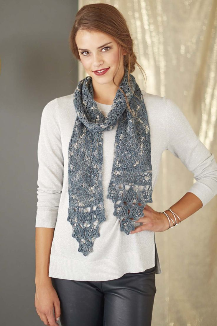Cascading snowflakes edge a lacy crochet scarf that adds a cool winter look to both formal and informal attire. The snowflakes in the Icicle Social Scarf by Sue Perez are made first and then connected with a join-as-you go technique.