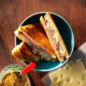 Reuben Pudgy Pie Recipe -Our favorite pudgy pie is the Reuben: Corned beef, sauerkraut and Swiss cheese! We always use buttered bread. —Kim Goetz Andover, Minnesota