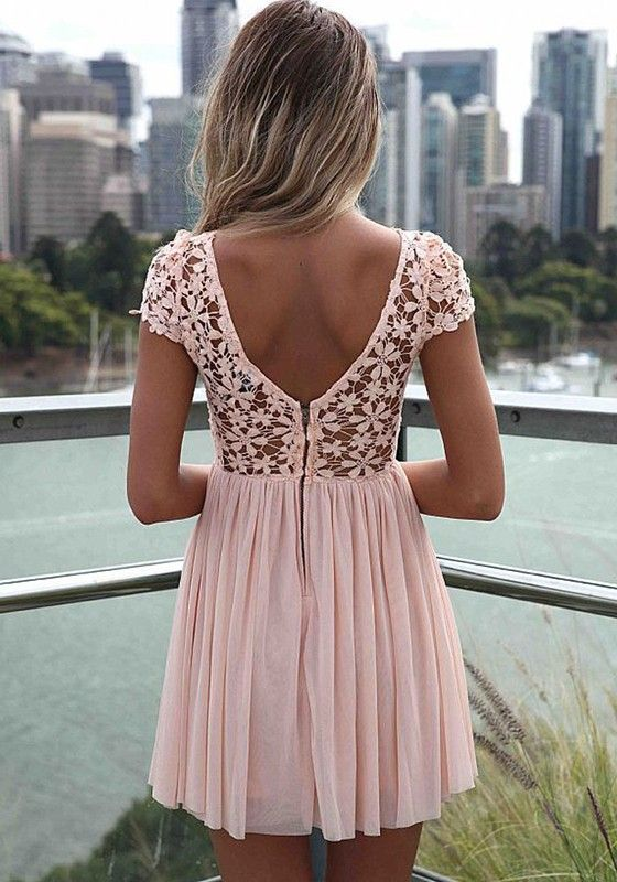 Pink Patchwork Lace Backless Short Sleeve Chiffon Dress