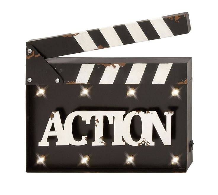 """""""Action"""" Clapperboard LED Wall Decor Hollywood Movie Theater Cinema"""