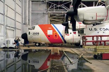 CGNR 2009 – the ninth C-130J Super Hercules long range surveillance aircraft in the Coast Guard fleet – gets outfitted with Coast Guard colors at Dean Baldwin Painting in Roswell, New Mexico. U.S. Coast Guard photo.  September 3, 2015 - The Coast Guard took delivery of its ninth C-130J Super Hercules long range surveillance aircraft at Air Station Elizabeth City, North Carolina, Sept. 2. The aircraft – CGNR 2009 – will operate in its base configuration until it undergoes a missionization…