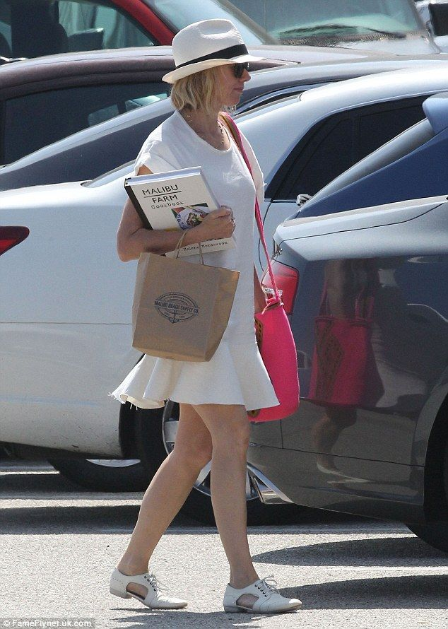 White on white: The British born actress who now resides in LA was sporting her usually yo...