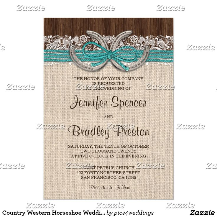 country western horseshoe wedding invitations more - Zazzle Wedding Invitations