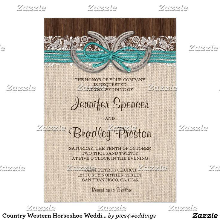 Country Western Horseshoe Wedding Invitations More