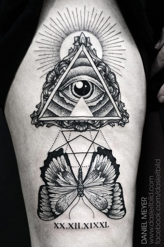All Seeing Eye Pyramid Tattoo On Shoulder Images