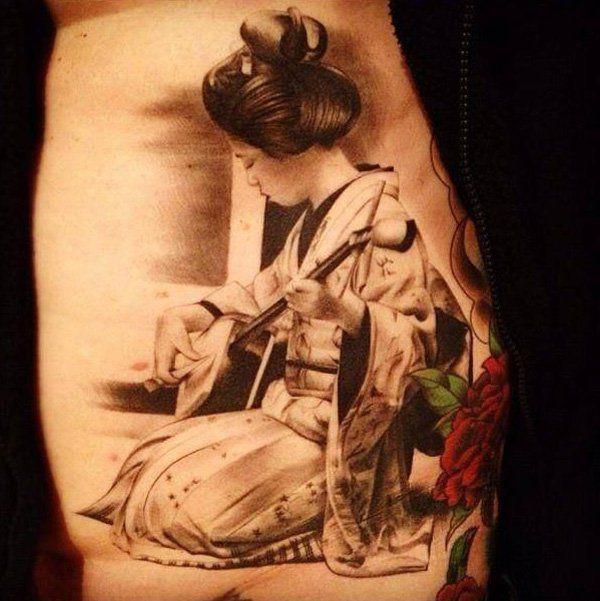geisha tattoo - 50  Beautiful Geisha Tattoos  <3 <3