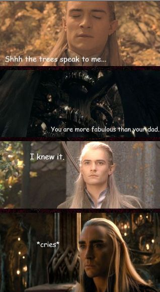 Legolas and Thranduil are BOTH fabulous. It's obviously something in the Mirkwood royal family's genes!