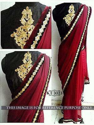 Maroon Plain 60 Grms Georgette Casual Saree With Blouse Bollywood Sarees Online on Shimply.com
