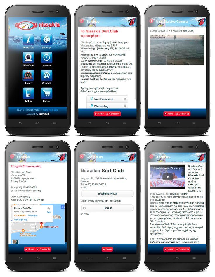 Mobile site ui design Nissakia Surf Club