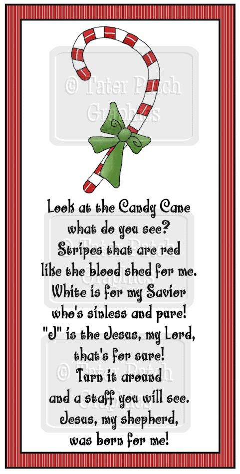 Christian Candy Cane Poem | Tater Patch Graphics - Primitive, Country and Whimsical clipart ...