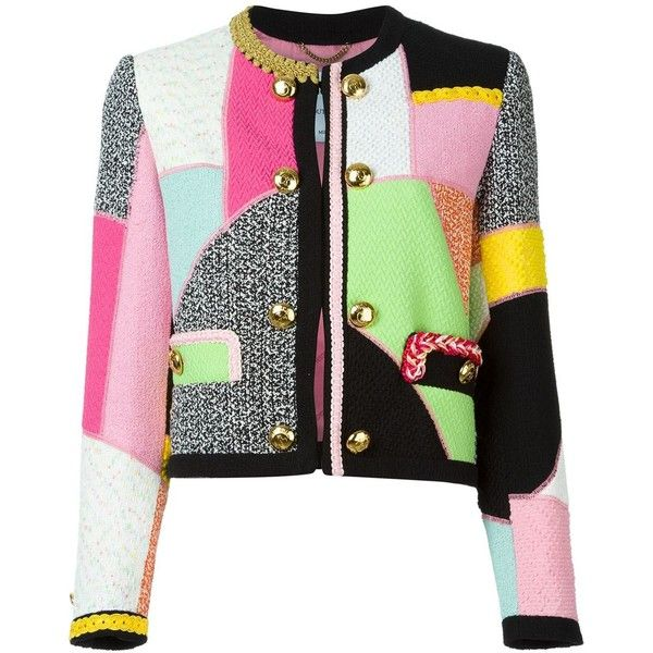 Moschino Patchwork Jacket (£1,960) ❤ liked on Polyvore featuring outerwear, jackets, multicolour, cropped jacket, multi color jacket, collarless jacket, long sleeve jacket and moschino jacket