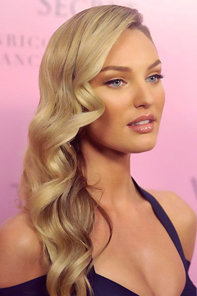 side swept wedding hairstyles | Candice Swanepoel's Side-Swept Curly Hairstyle