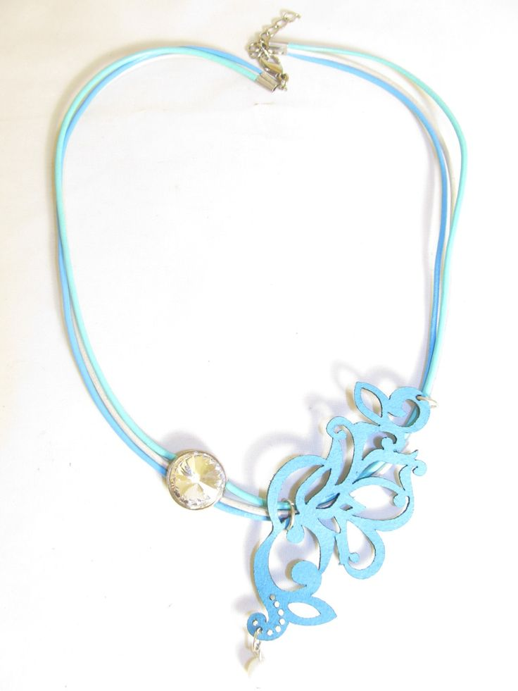 Handmade short turquoise leather necklace (1 pc)  Made with turquoise leather filigree, leather cords and metal with crystal.