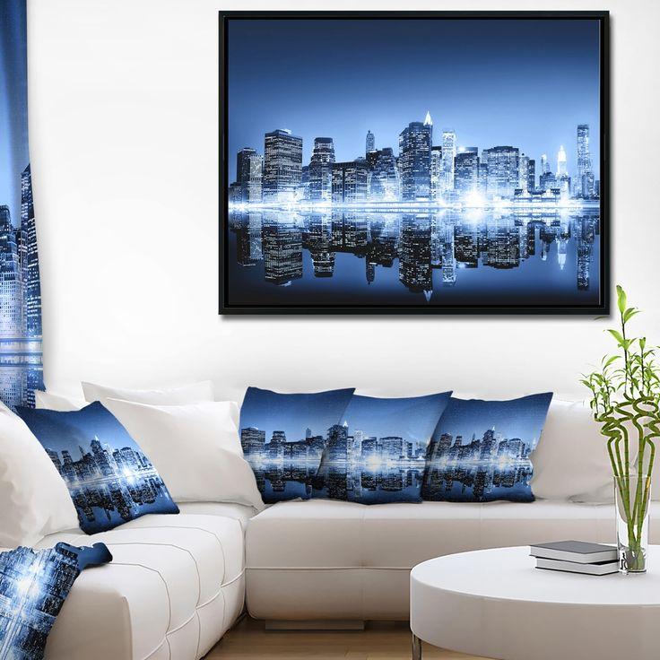 Designart 'Night New York City Mirrored' Cityscape Framed Canvas Art Print