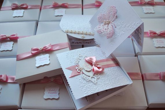 Pink  Butterfly Wedding Invitation Boxed Luxury by alleccssa, $3.60